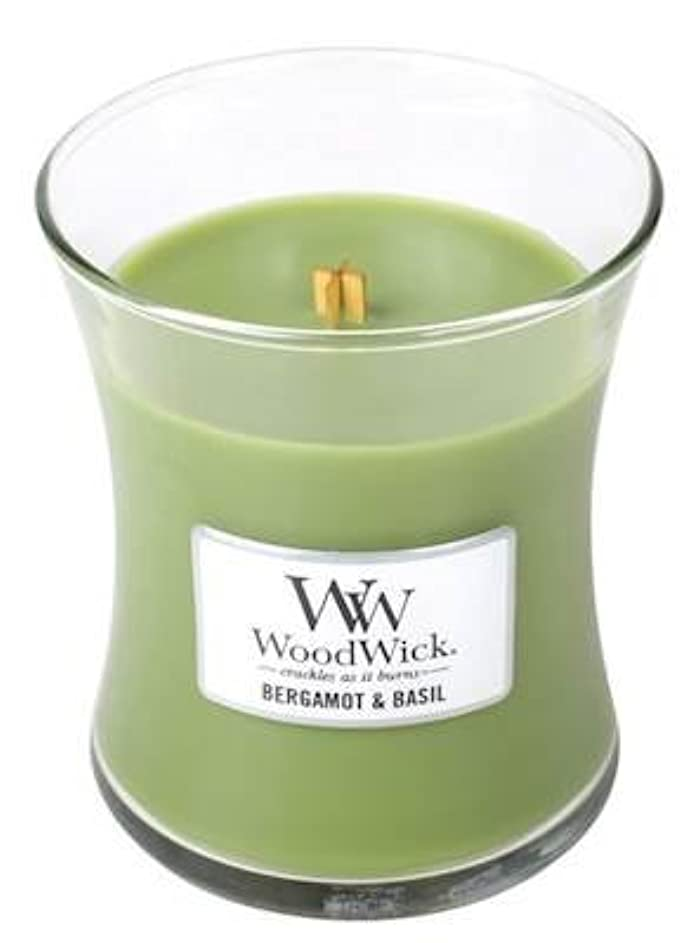 移住する全体テロベルガモットBasil – Woodwick 10oz Medium Jar Candle Burns 100時間