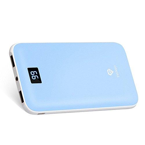 PZX モバイルバッテリー 大容量 12000mAh 軽量 薄型 スマホ 充電器 LEDランプ LCD残量表示 2.4A 急速充電 持ち運び電池 アイフォン 2USBポート 2台同時充電 モバイル バッテリー iPhone 携帯充電器 iphone / ipad / android 対応 (ブルー)
