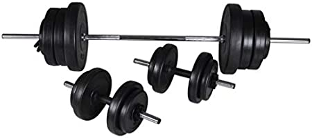vidaXL Barbell + 2 Dumbbell Set 60.5kg Home Gym Sports Exercise Adjustable