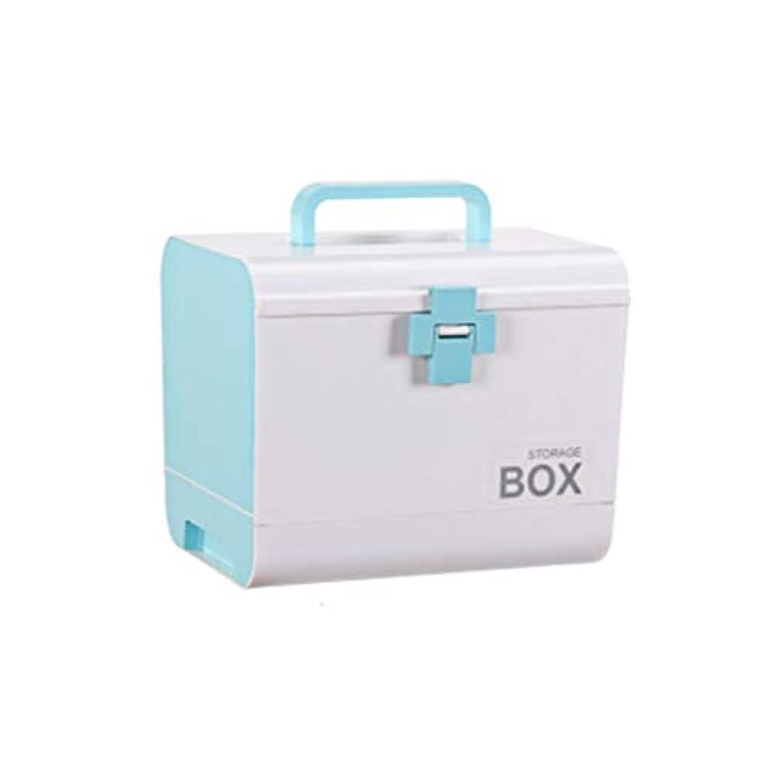 ベッド権限レトルトYYFRB ポータブル薬箱、家庭薬大型救急箱、薬収納箱 医学パッケージ (Color : Blue)