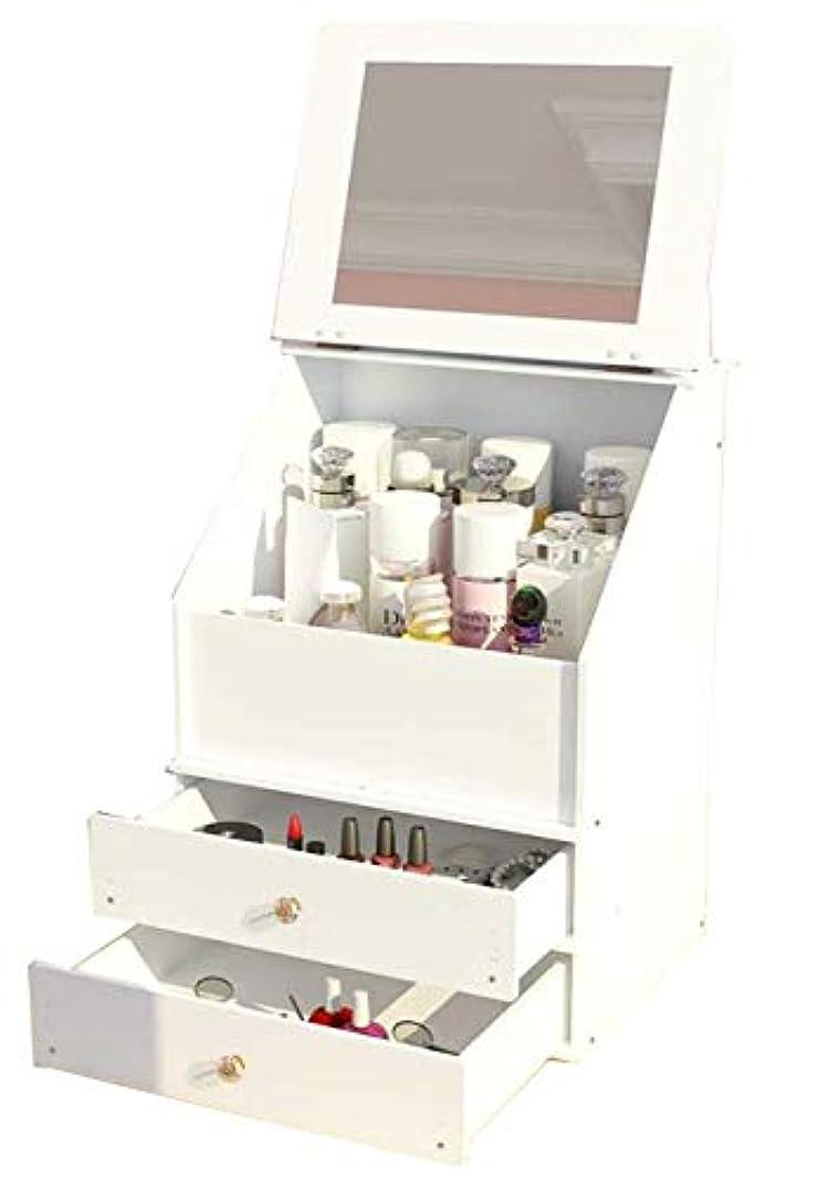 バウンス宿サーバント[ふーふうん] 化粧品収納ケース 防塵 コスメボックス 大容量 鏡付き アクセサリー収納ボックス