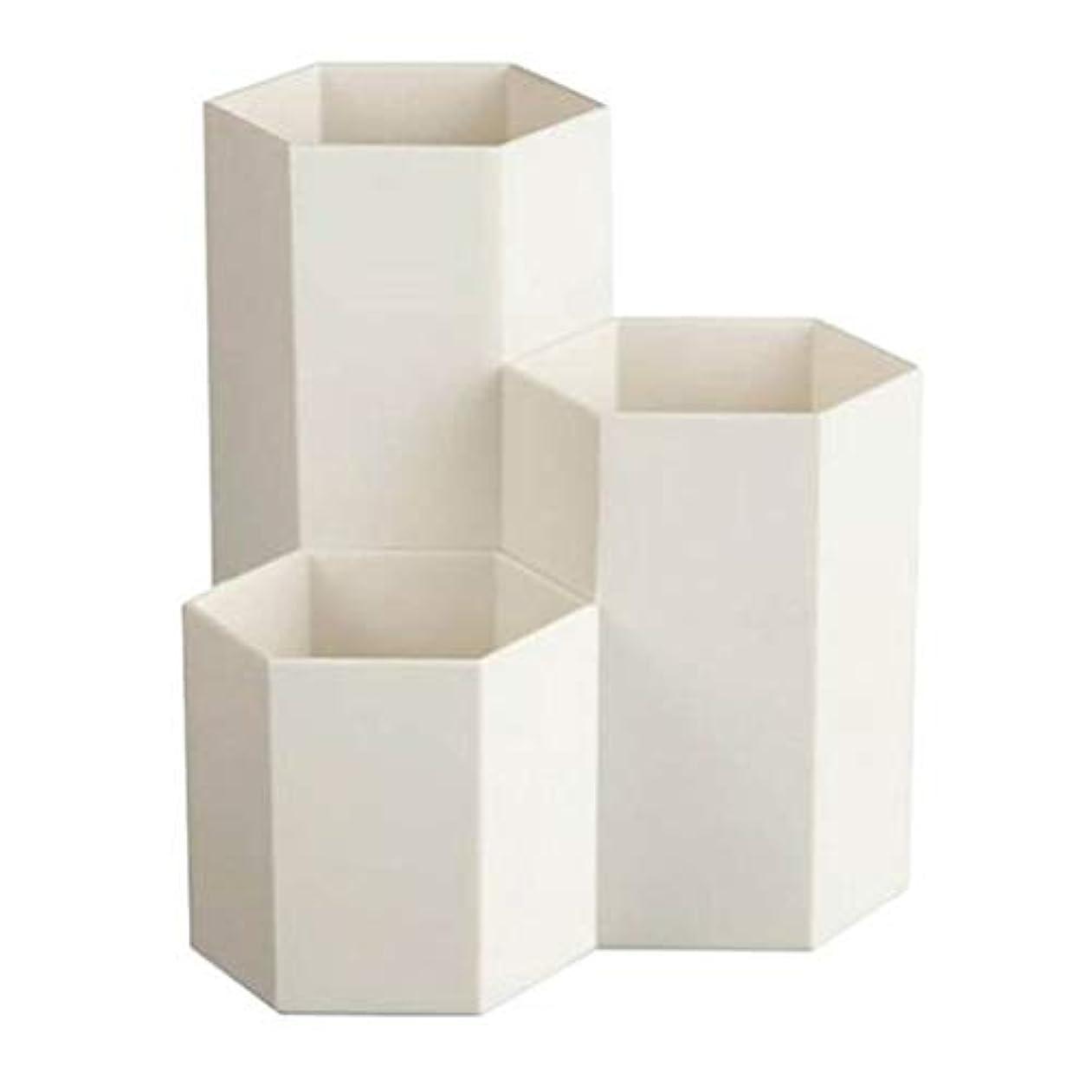 ネクタイ荷物話TerGOOSE 卓上収納ケース メイクブラシケース メイクブラシスタンド メイクブラシ収納ボックス メイクケース ペンホルダー 卓上文房具収納ボックス ペン立て 文房具 おしゃれ 六角 3つのグリッド 大容量 ホワイト