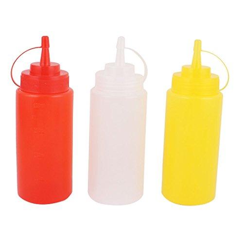 uxcell 調味料入れ キッチンソース 酢 ジャム ケチャップ 圧搾 プラスチックボトル ホワイト 400mL 3個入り