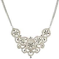 Colette Hayman - Silver Flower Diamante Statement Necklace