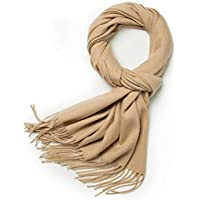 Wool Cashmere Feel Winter Scarf Shawls And Wrap, Classic Solid Or Plaid Soft Scarves For Men & Women
