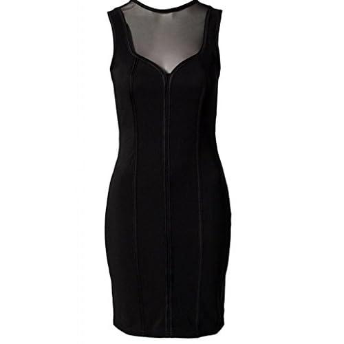 (ラボーグ)La Vogue ボディコン レディース ワンピースドレス キャバ 二次会 タイト着痩せ 丸首 袖なし透けシンプルミニ丈ワンピース ブラック