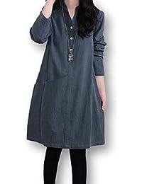[モノリリ] レディース ワンピース チュニック シャツ 長袖 3色展開(ブルー、ワイン、グリーン)