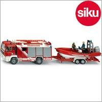 <ボーネルンド> Siku(ジク)社 輸入ミニカー 2102 MAN 消防レスキュー車 ボート積載トレーラー付 1/55