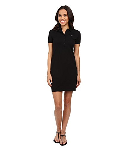 (ラコステ) LACOSTE レディースドレス・ワンピース Short Sleeve Pique Polo Dress Black 10 XL [並行輸入品]