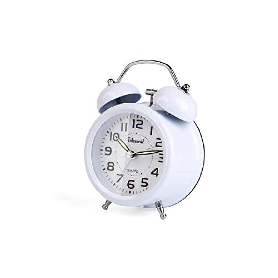 メロドラマボランティア適度にQiyuezhuangshi001 目覚まし時計、学生の目覚まし時計、シンプルで静かな、明るい時計黒、寝室のベッドサイド時計(11.8 * 5.5 * 15.8cm) 材料の安全性 (Color : White, Size : Three inches)
