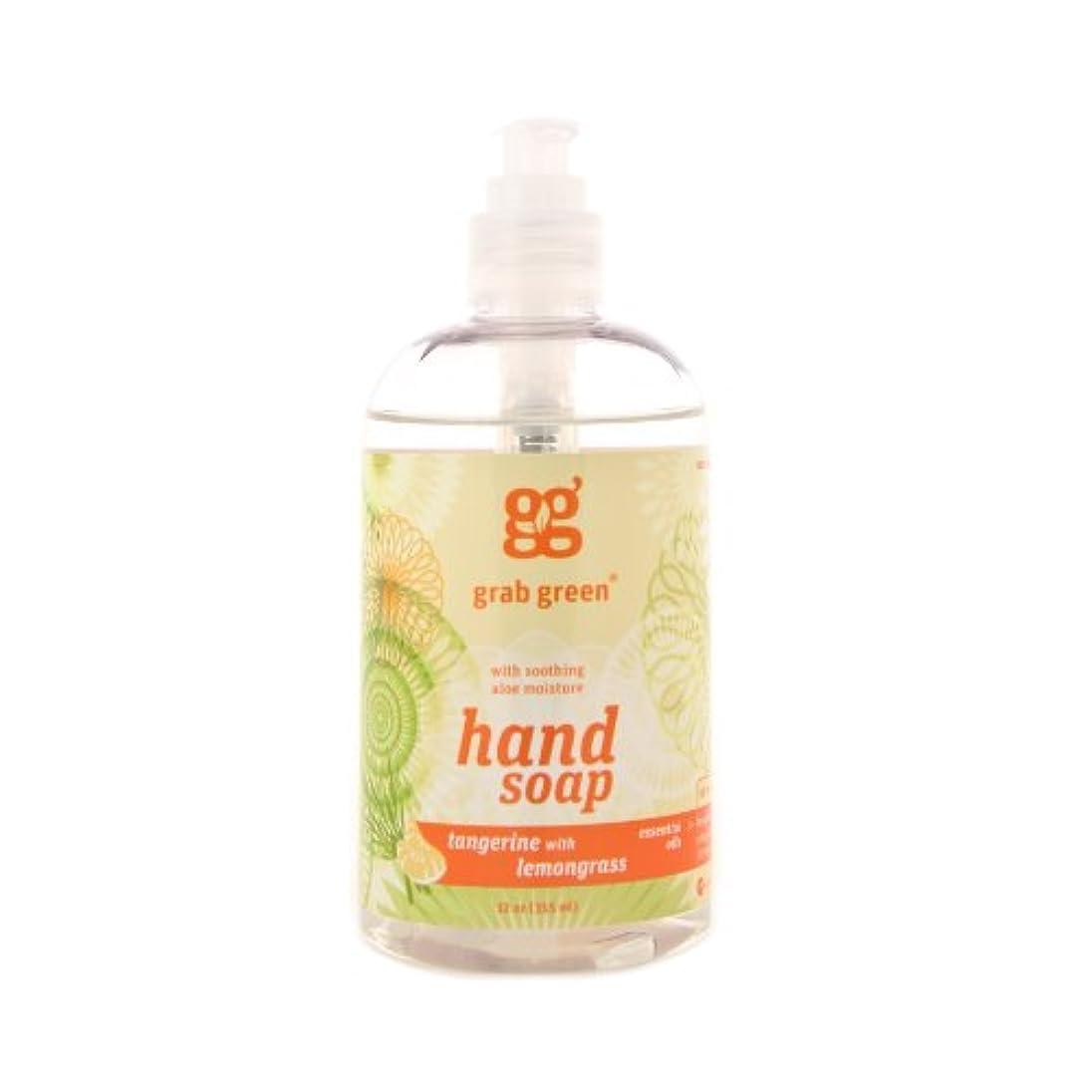 番号カタログ排除するGrab Green 天然由来の、生分解性ハンドソープ、レモングラスとタンジェリン、12オンスボトル