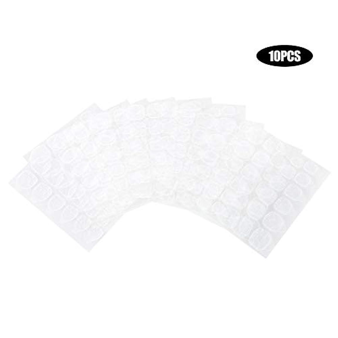 ネイルステッカー両面接着テープ 透明 10枚 落下しにくい 強い粘性 耐久性 通気性 軽量性 無毒 無臭 健康 自宅 サロン