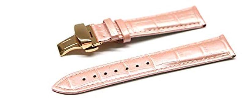 泥棒一般穿孔する腕時計 ベルト 20mm レザー クロコダイル型押し 牛 革 ピンク プッシュ式 Dバックル ピンク ゴールド l001pk-pd-p