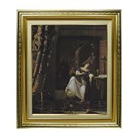 フェルメール 信仰のアンゴリー F8 油絵直筆仕上げ| 絵画8号 598×524mm 複製画 ゴールド
