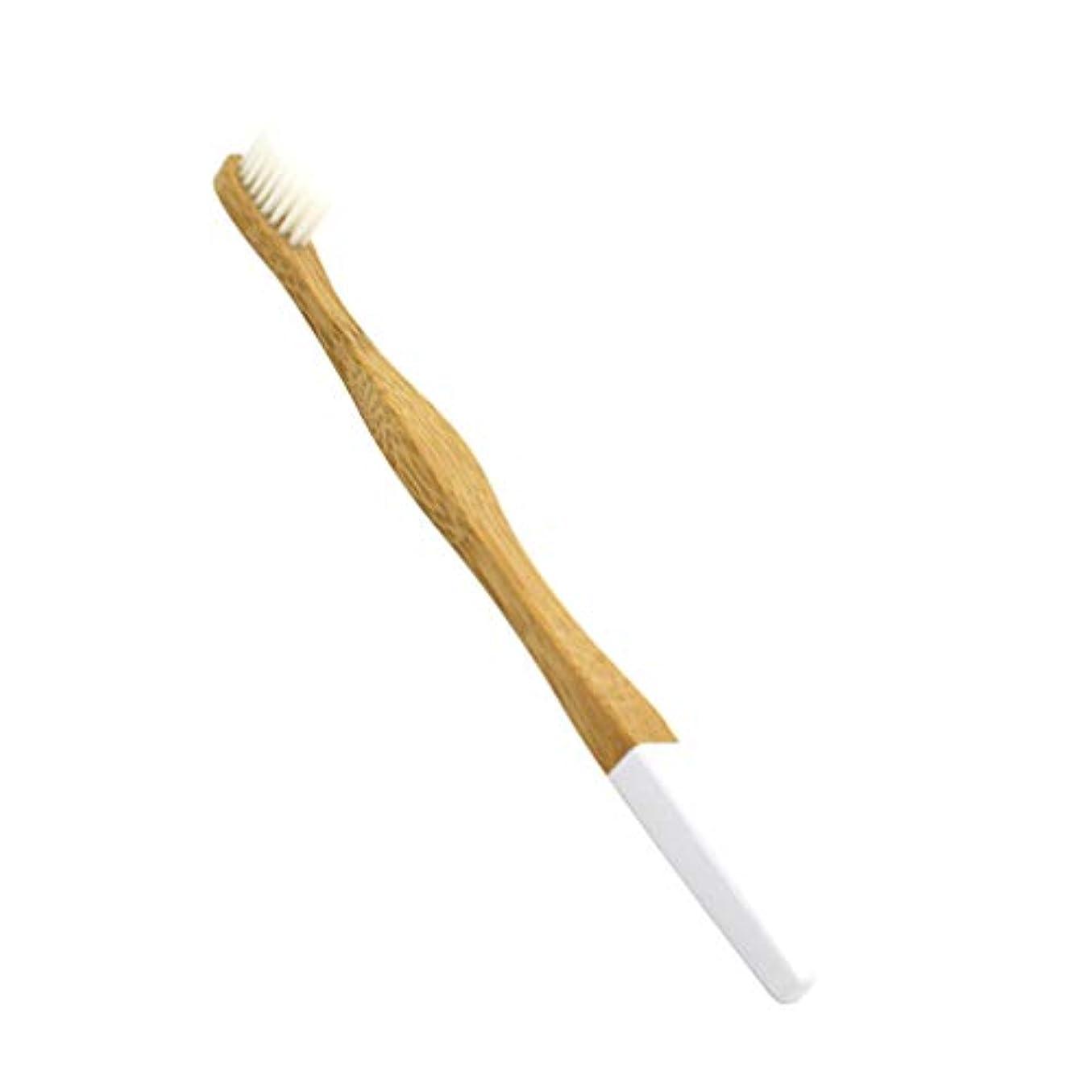 失サルベージパレードHealifty 竹の歯ブラシ生分解性の柔らかい歯ブラシ柔らかいブラシクラフトペーパーバッグ包装大人1個(白)