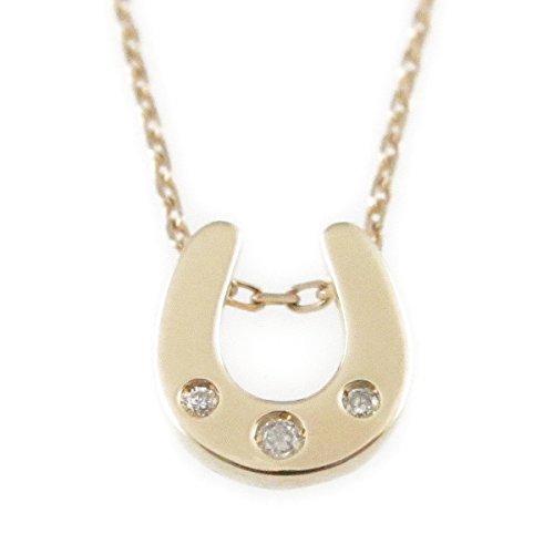 LoveReva [ラブレバ] K10 天然ダイヤモンド 馬蹄 ペンダント ネックレス レディース 1403 (イエローゴールド)