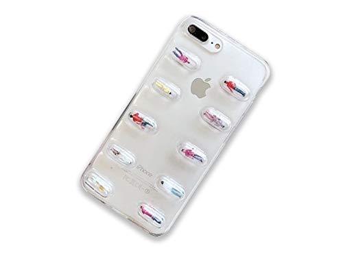 iPhone7Plus 8Plus iPhoneケース カプセル ビーズ 人形 ミニ クリア 透明 ...