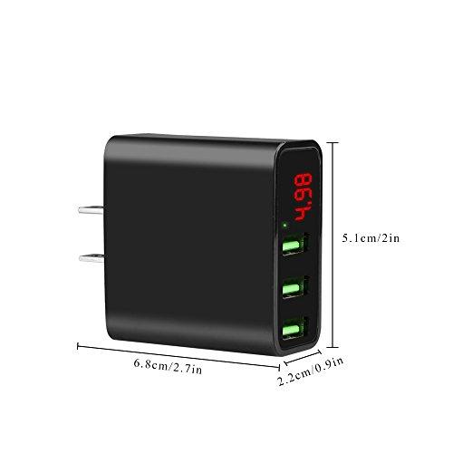 ALLOMN USB充電器 ACアダプター 3A 3ポート スマホ急速充電 電圧電流数値表現 ディスプレイ iPhone/iPad/Xperia/Galaxy/Android各種対応 ブラック
