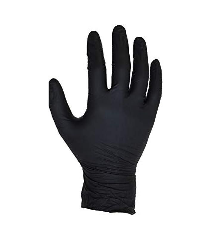本質的ではない強化する置くためにパック100個入りブラックニトリル手袋 - サイズL - ASPRO - パウダーフリー - 使い捨て - ラテックスフリー - AQL 1.5(サイズL - 大、黒)