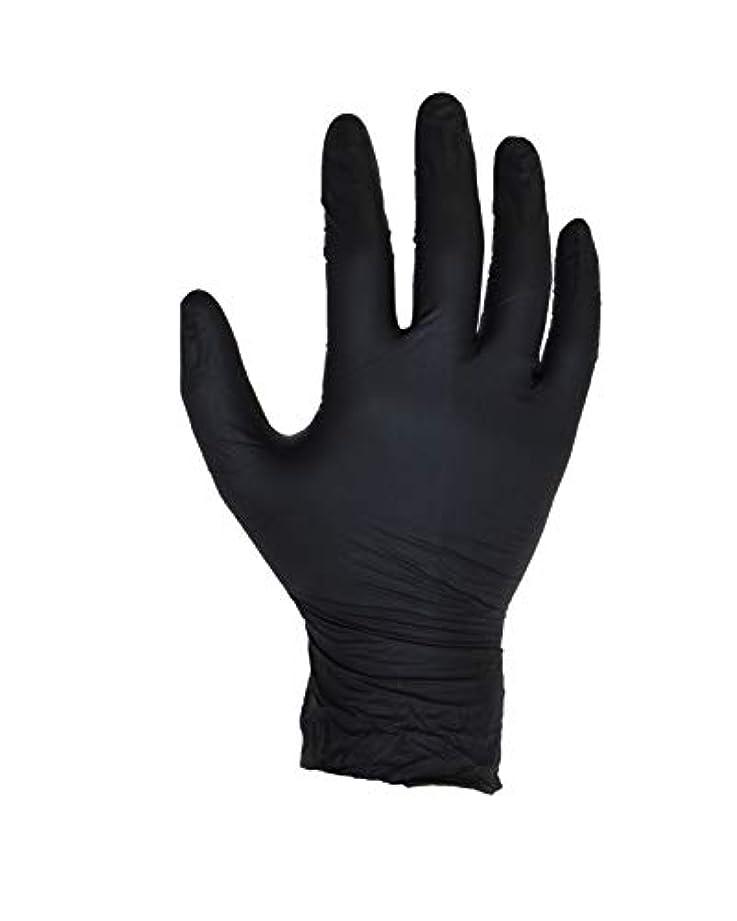 区画ワームロードブロッキング100個入りブラックニトリル手袋 - サイズL - ASPRO - パウダーフリー - 使い捨て - ラテックスフリー - AQL 1.5(サイズL - 大、黒)