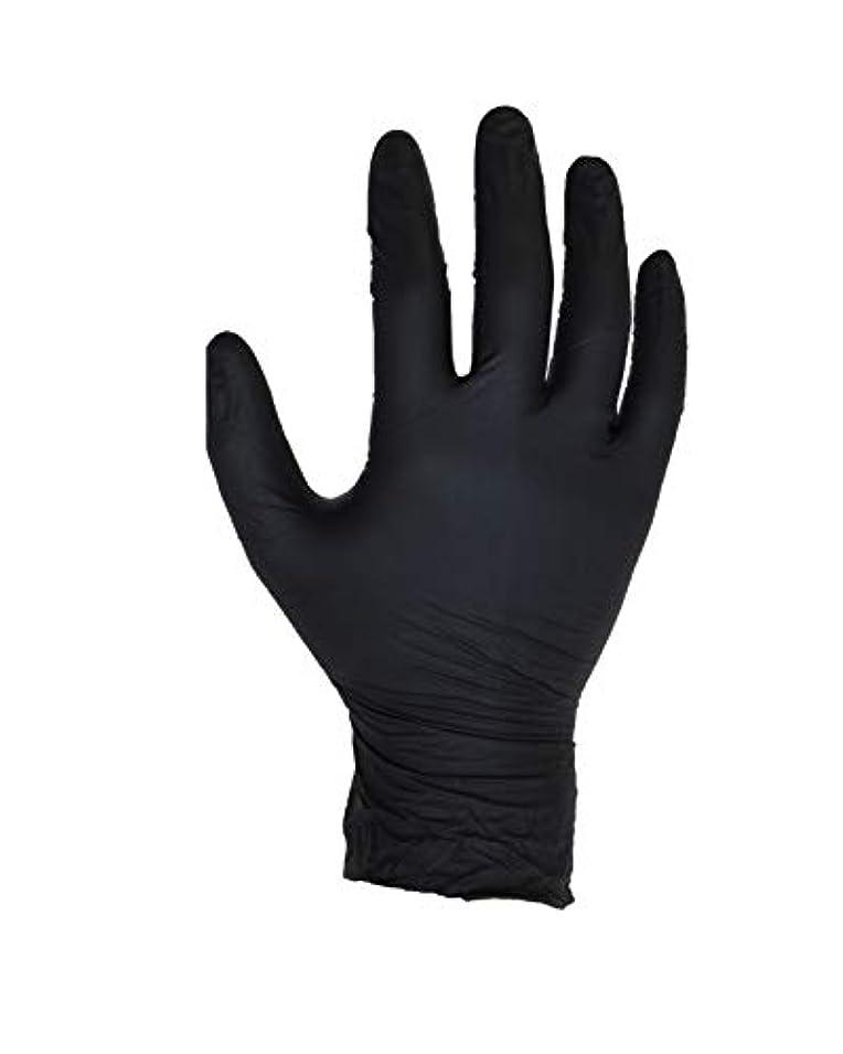 夜合体敵100個入りブラックニトリル手袋 - サイズL - ASPRO - パウダーフリー - 使い捨て - ラテックスフリー - AQL 1.5(サイズL - 大、黒)