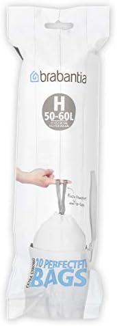 Brabantia 246784 Bin Liner Code H (40/50/60 Litre) 10 Bags, White