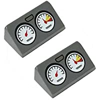 LEGOブロック?純正パーツ<スロープ>30° 1 x 2 x 2/3 with 2 Gauges and Silver Outline Pattern (2個, Dark Bluish Gray) [並行輸入品]