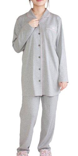 [パジャマ工房] レディース パジャマ 長袖 前開き テーラーカラー オーガニックコットン100% 中厚スムースニット [540] Mオレンジ