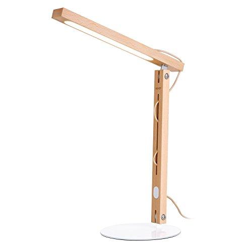 デスクライト AUKEY 電気スタンド 高演色性LED 卓上スタンド テーブルランプ 卓上ライト タッチセンサー木製ライト 天然木造り ブナ製 7W 450ルーメン LT-ST24