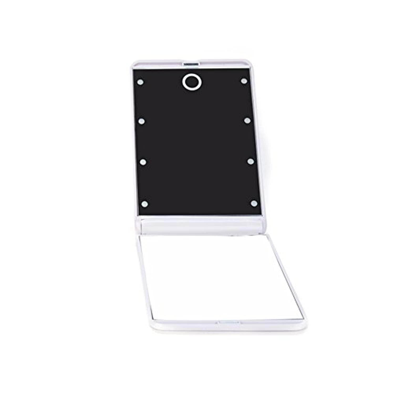 ピグマリオン有力者透明にledミラー 折りたたみ式 メイクミラー LEDライト 角度/明るさ調整 コンパクト 化粧鏡 二面鏡 ミラー 2倍拡大鏡付 8灯手鏡 ホワイト