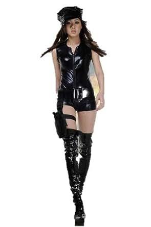 警官 ポリス ボンテージ風 コスプレ 帽子付き ブラック 舞台 仮装 衣装 ハロウィン