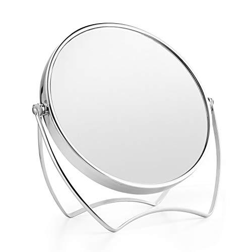 卓上ミラー メイクミラー 1倍/5倍拡大鏡 両面化粧鏡 ラウンドミラー 女優ミラー スタンドミラー 卓上鏡 360°回転ブラケット メタルフレームバニティミラー 寝室や浴室に適しています(15cm)
