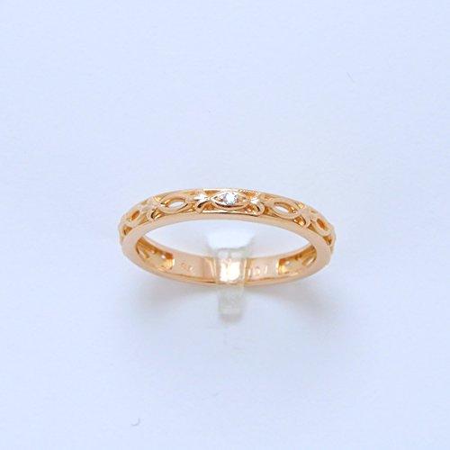 天然 ダイヤモンド 0.01ct 18金製 K18PG gold ピンクゴールド (日本製 Made in Japan) (金属アレルギー対応) リング 10号 4月 誕生石 [KJ]