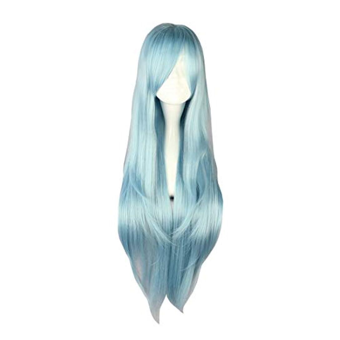 紀元前勝利したつばKoloeplf 少女ロングライトブルーナチュラルストレートフルウィッグアニメコスプレパーティー用ソードアートオンラインアスナフィギュア (Color : LIGHT BLUE, Size : 217E)