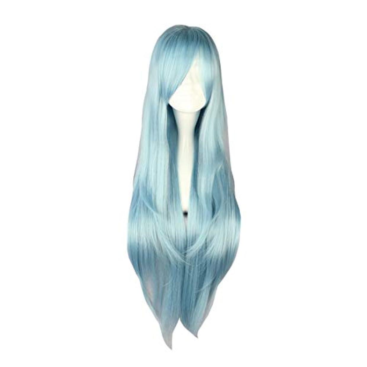 襟固める自発Koloeplf 少女ロングライトブルーナチュラルストレートフルウィッグアニメコスプレパーティー用ソードアートオンラインアスナフィギュア (Color : LIGHT BLUE, Size : 217E)