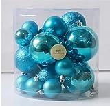 オーナメント ボール クリスマスツリー 装飾 1.5m 150cm 飾り セット LED リボン 10色 結婚式 (スカイブルー)