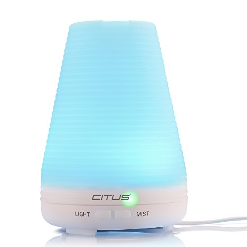 CITUS アロマディフューザー 超音波式 加湿器 アロマポット 多色変換LEDライト付き 空焚き防止機能 ホワイト