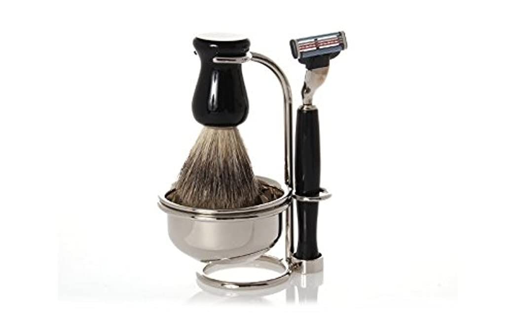Erbe Shaving Set, Gillette Mach3 Razor, Shaving Brush, Soap Bowl, Stand, black