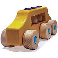 INTELBLOX 木製バスおもちゃ 3人乗り 12ヶ月以上 幼児 赤ちゃん 男の子 女の子 エキゾチックな木製
