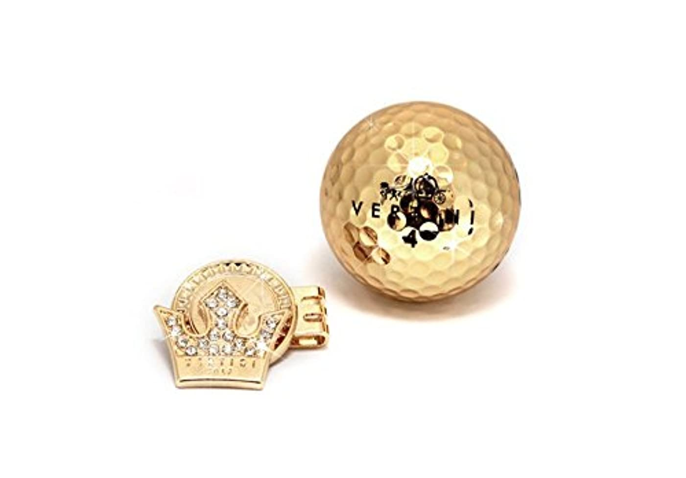陽気なバスタブ通訳Vertini 1つのゴールド高い可視性の距離ゴルフボール+ 1ゴールドボールマーカー+ 1クリップセット [並行輸入品]