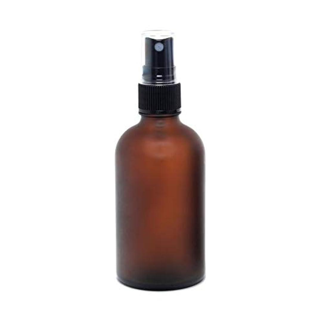 変化現れる大声で遮光瓶 蓄圧式ミストのスプレーボトル 100ml / アンバー?フロスト(つや消し)(硝子/アトマイザー)ブラックヘッド 1本