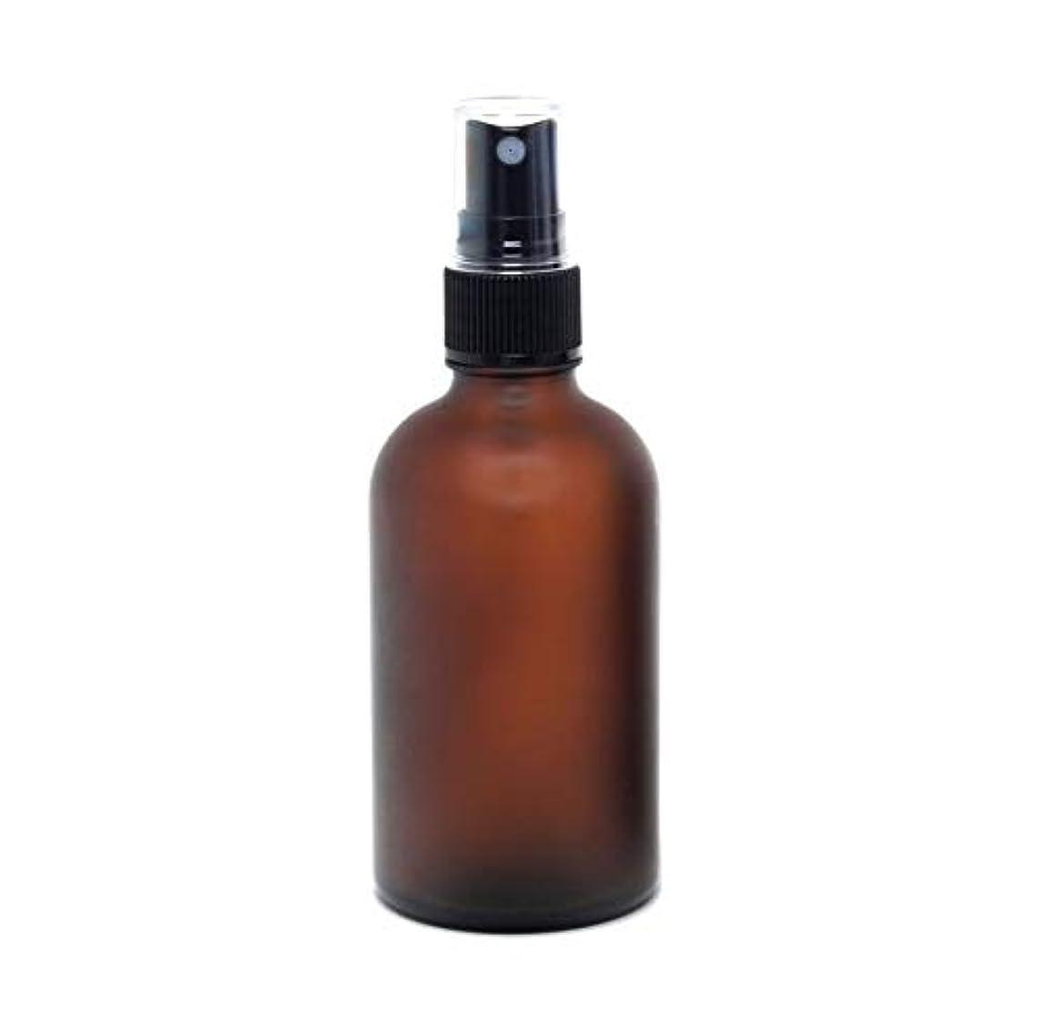 混乱させる古くなった大理石遮光瓶 蓄圧式ミストのスプレーボトル 100ml / アンバー?フロスト(つや消し)(硝子/アトマイザー)ブラックヘッド 1本