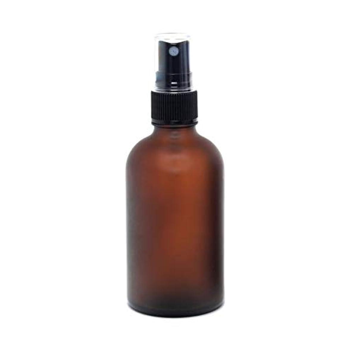 遮光瓶 蓄圧式ミストのスプレーボトル 100ml / アンバー?フロスト(つや消し)(硝子/アトマイザー)ブラックヘッド 1本