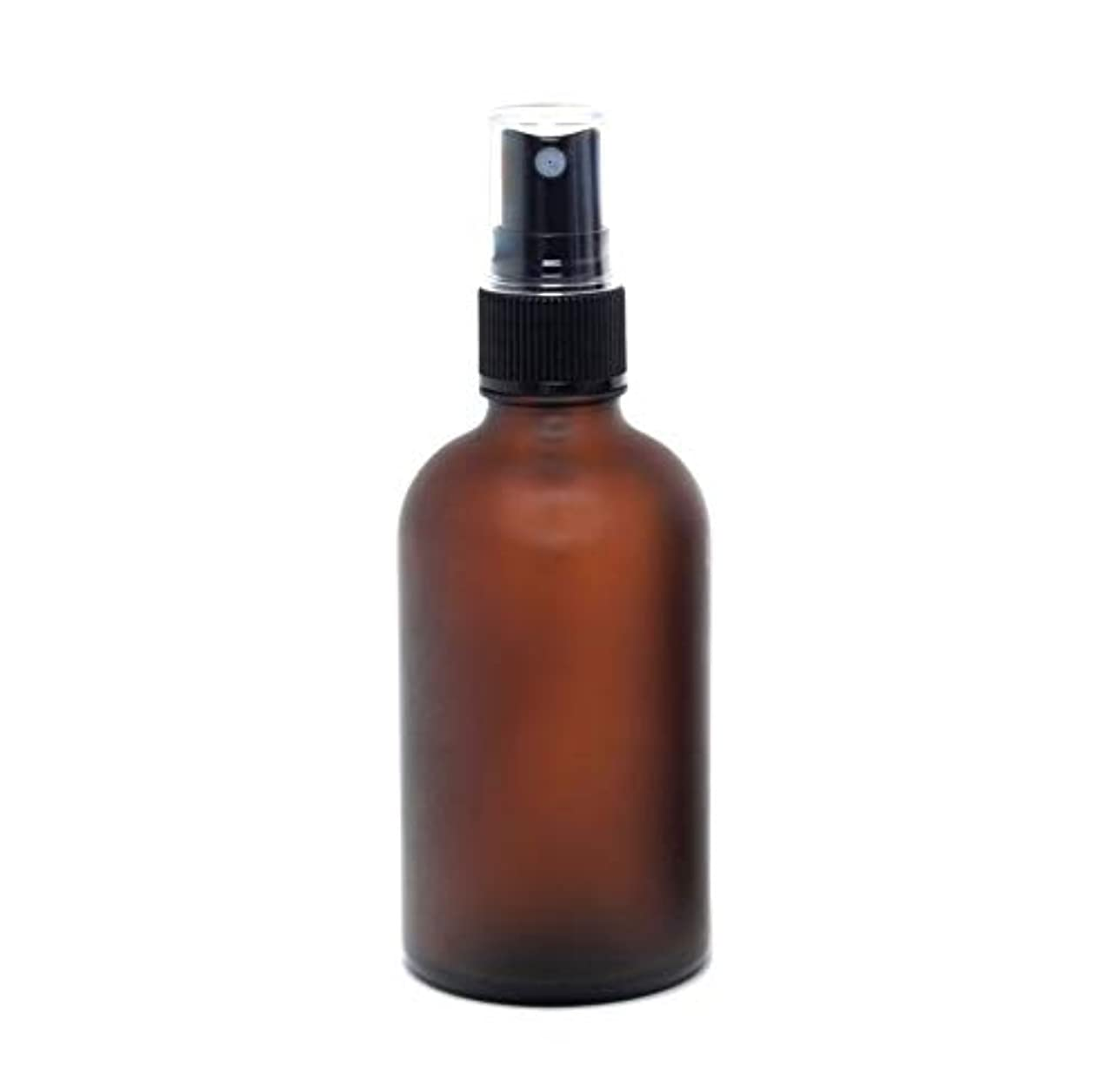 横たわるつぶす運賃遮光瓶 蓄圧式ミストのスプレーボトル 100ml / アンバー・フロスト(つや消し)(硝子/アトマイザー)ブラックヘッド 1本