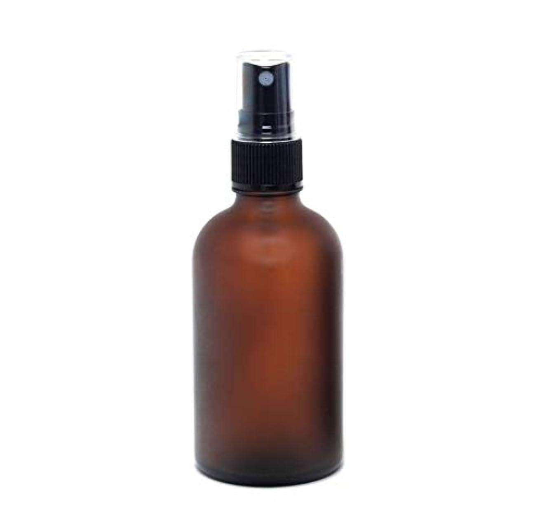 褒賞違反するカリング遮光瓶 蓄圧式ミストのスプレーボトル 100ml / アンバー?フロスト(つや消し)(硝子/アトマイザー)ブラックヘッド 1本