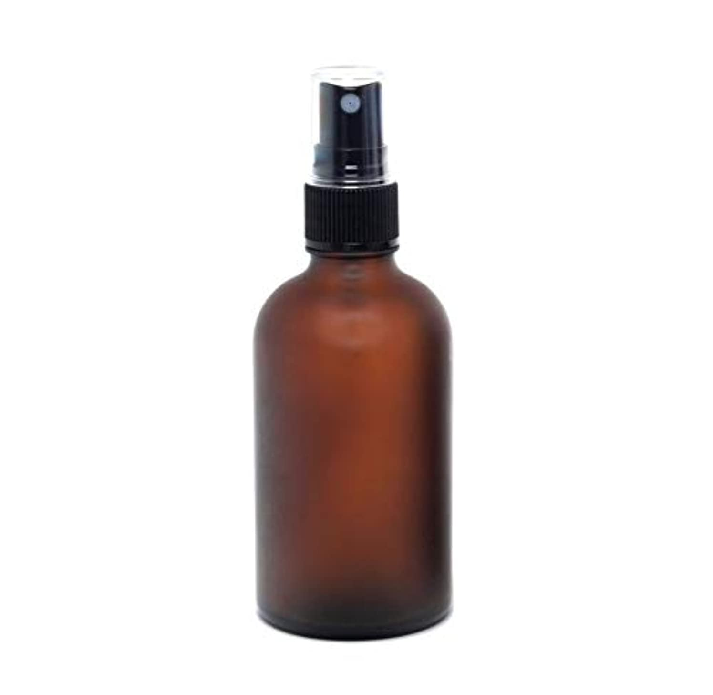 お風呂浴鳴らす遮光瓶 蓄圧式ミストのスプレーボトル 100ml / アンバー?フロスト(つや消し)(硝子/アトマイザー)ブラックヘッド 1本