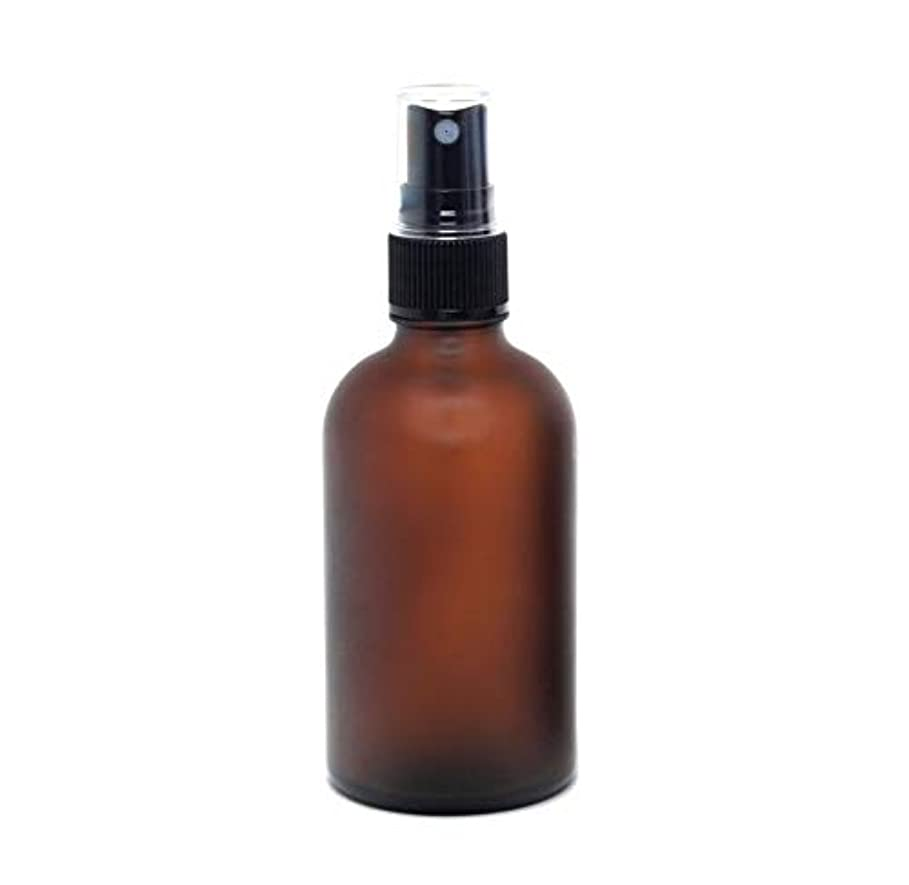 ボトル不潔細断遮光瓶 蓄圧式ミストのスプレーボトル 100ml / アンバー?フロスト(つや消し)(硝子/アトマイザー)ブラックヘッド 1本