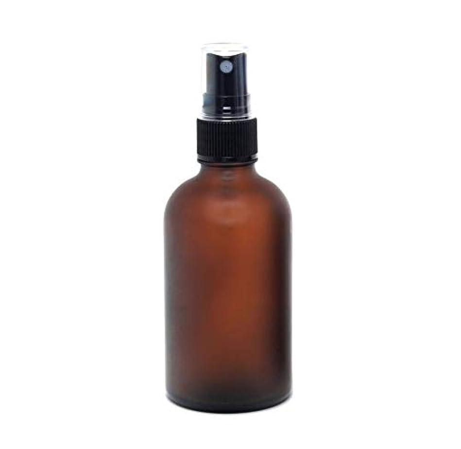 ふける合法急流遮光瓶 蓄圧式ミストのスプレーボトル 100ml / アンバー?フロスト(つや消し)(硝子/アトマイザー)ブラックヘッド 1本