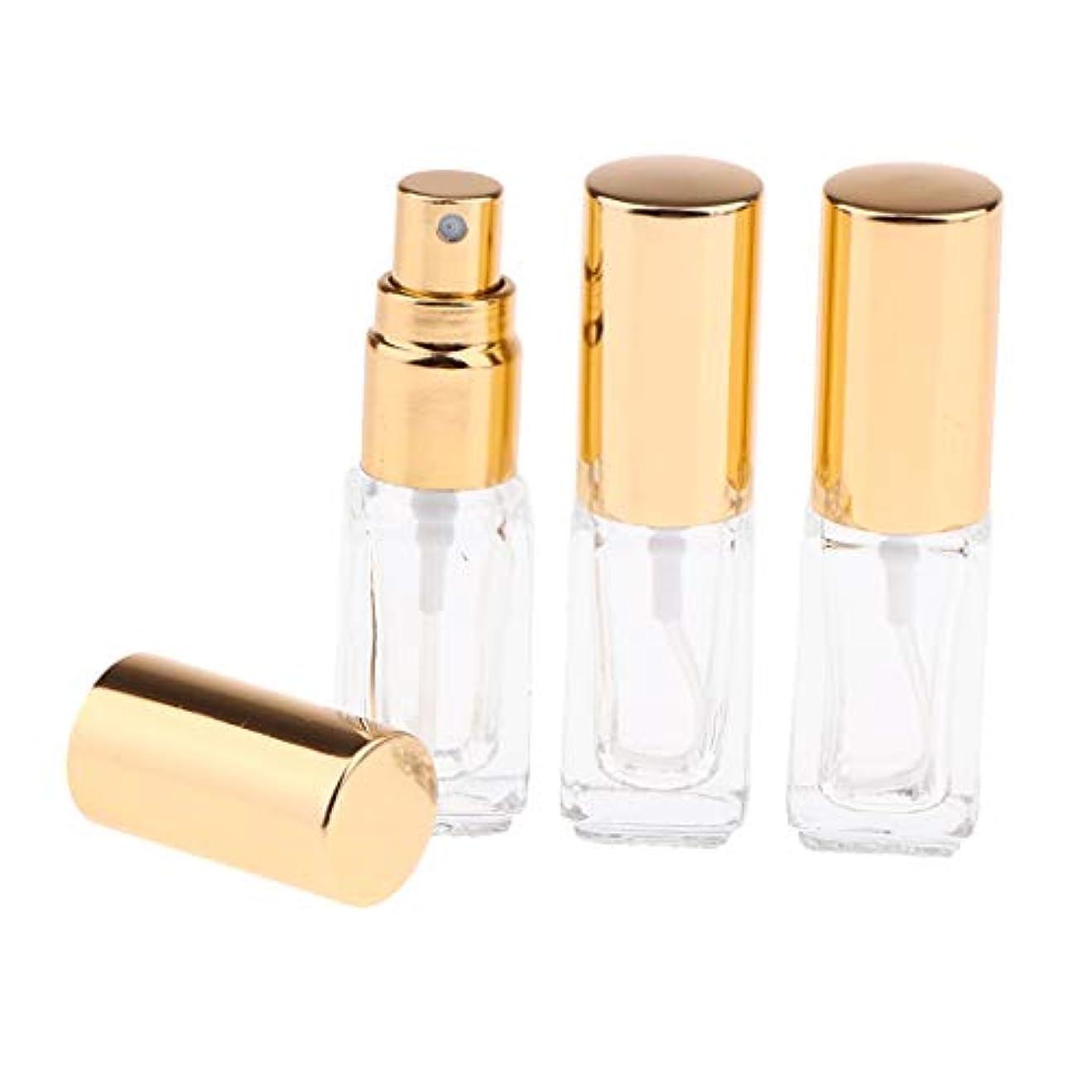 光移動収穫ガラスボトル スプレーボトル 香水アトマイザー 3ML 詰め替え容器 小型 3個セット 全3色 - ゴールドキャップ