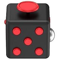 Relohas Fidget Cube ストレス解消キューブ 持ち無沙汰を解消 不安 緊張 リリーフ ルービックキューブ おもちゃ 手持ちポケットゲーム 集中力を高める道具 ((黒+紅))